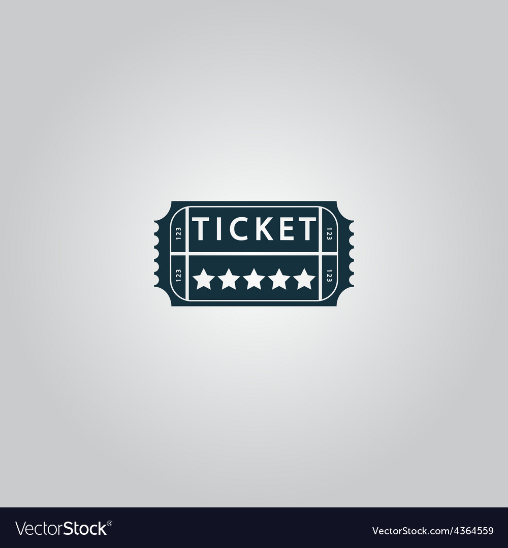 Vintage ticket icon on background vector | Price: 1 Credit (USD $1)