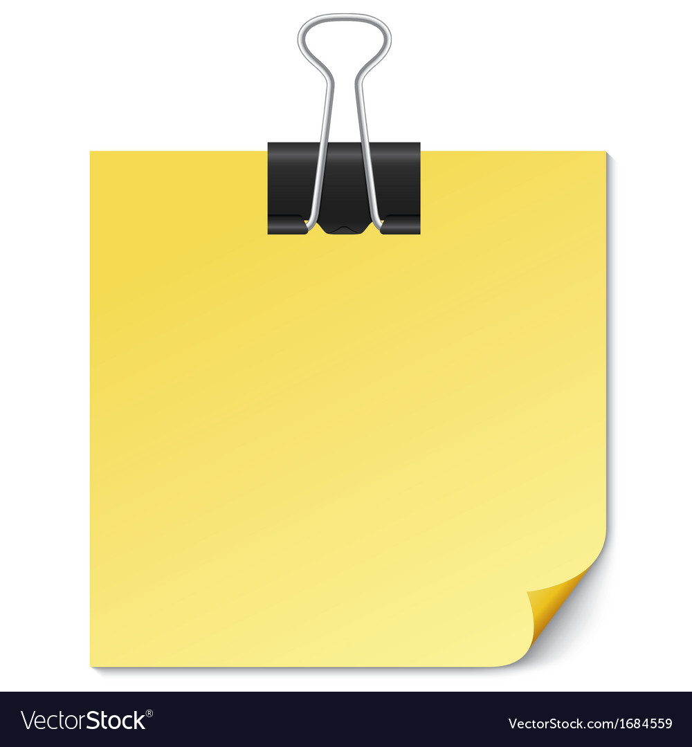 Yellow note paper with binder clip on white vector | Price: 1 Credit (USD $1)