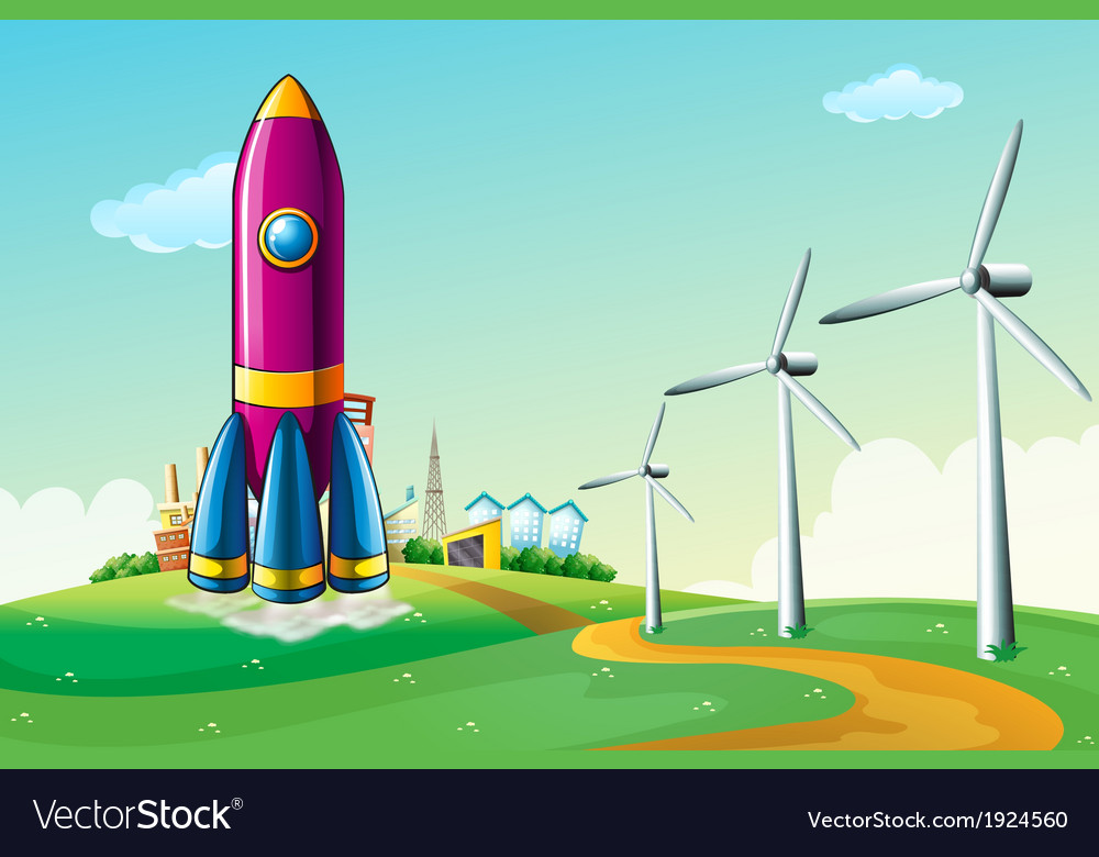 A hilltop with a rocket near the windmills vector | Price: 3 Credit (USD $3)