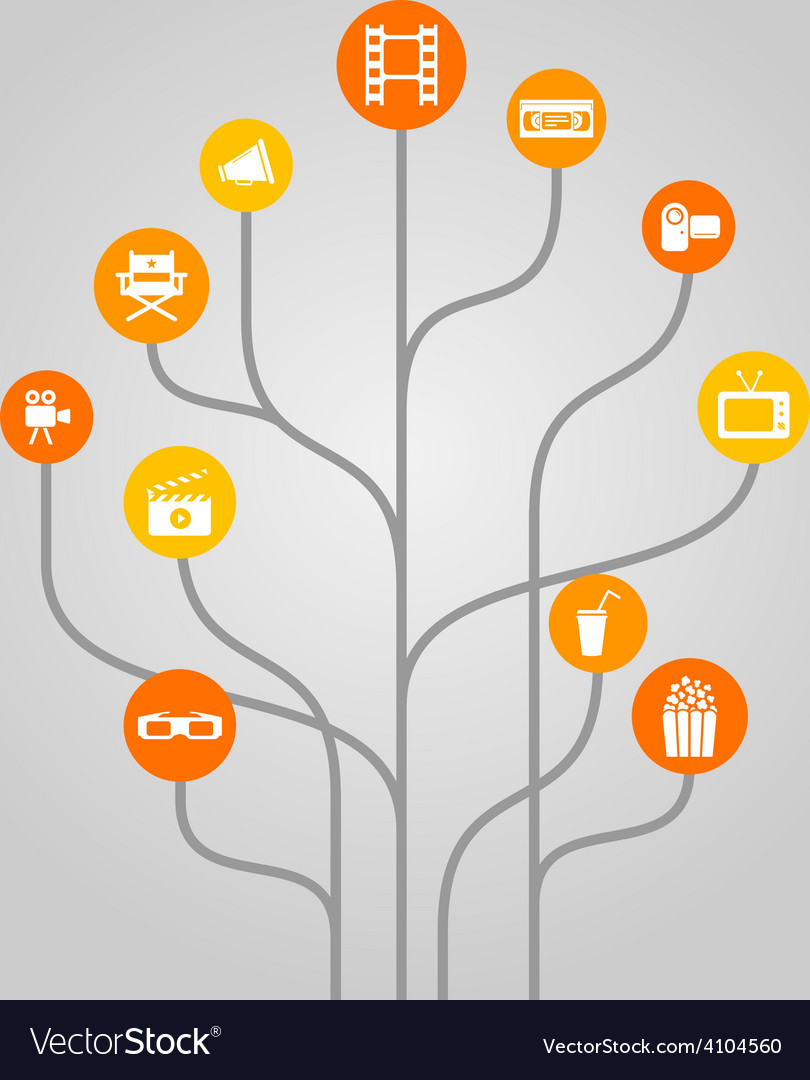 Abstract icon tree concept - movie video cinema vector | Price: 1 Credit (USD $1)