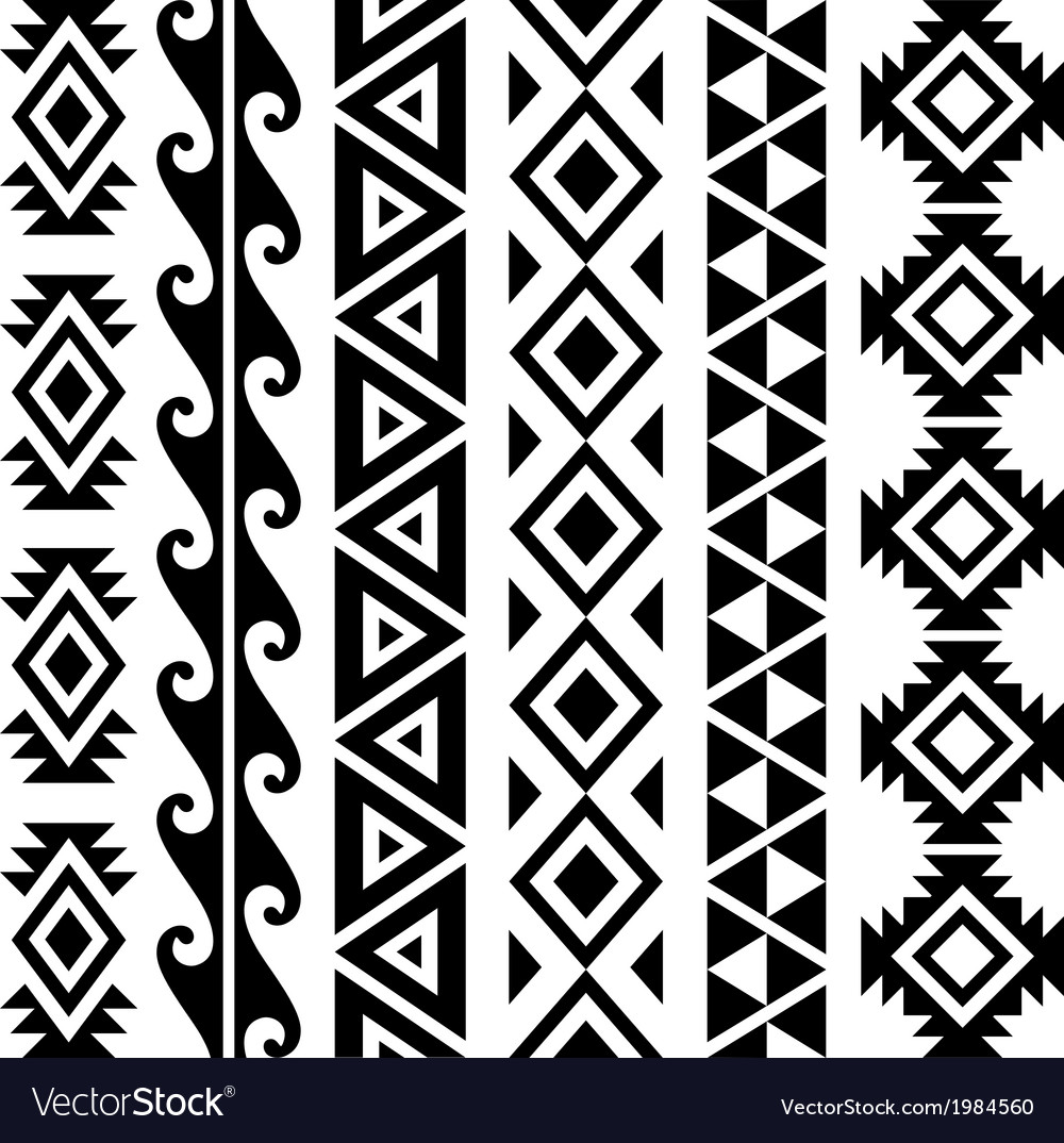 Aztec tribal seamless pattern designs vector | Price: 1 Credit (USD $1)