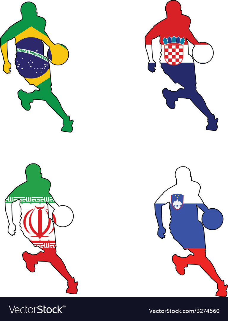 Basketball colors of brazil croatia iran slovenia vector | Price: 1 Credit (USD $1)