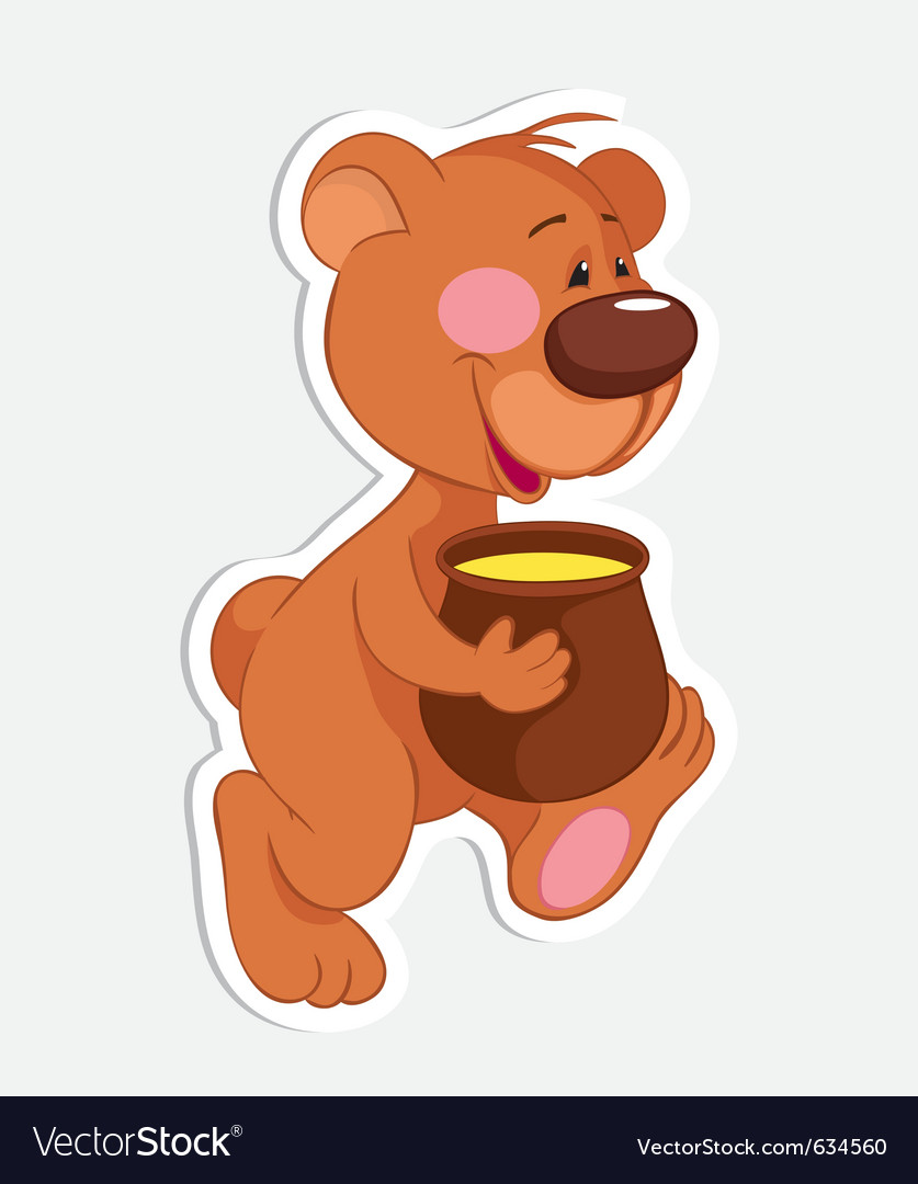 Bear and honey pot vector | Price: 1 Credit (USD $1)