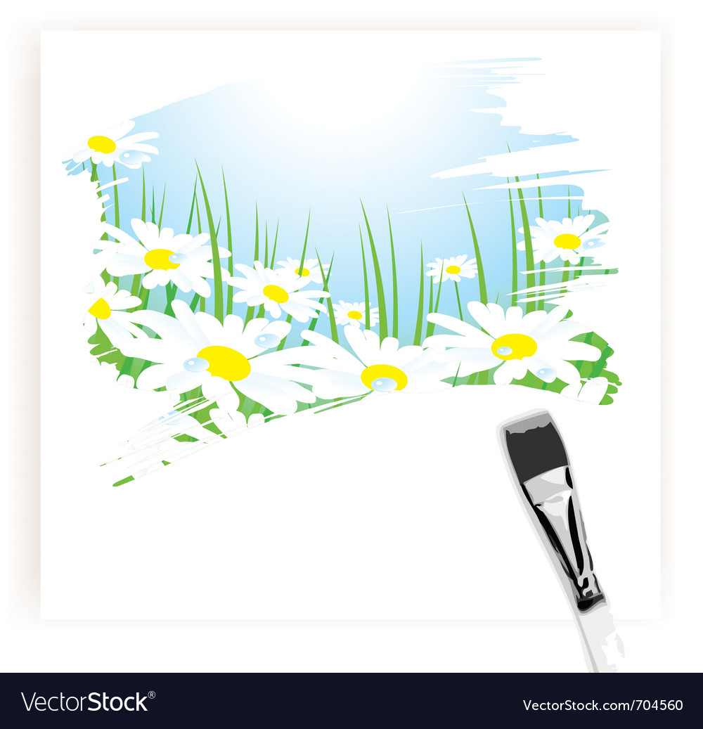 Brush painting of camomile meadow vector | Price: 1 Credit (USD $1)