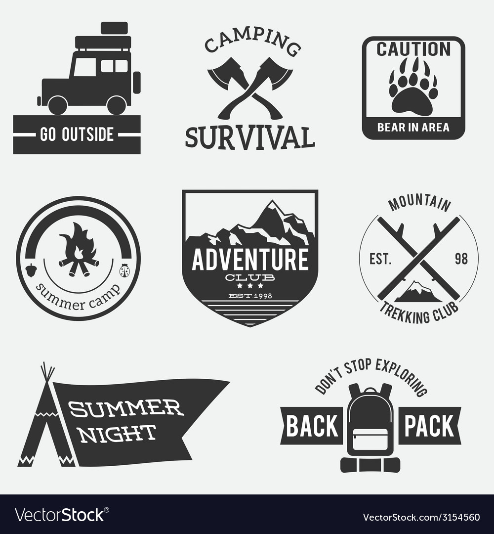 Camping badges vector | Price: 1 Credit (USD $1)