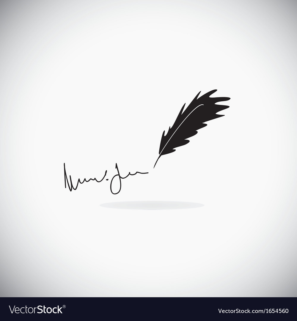 Feather with a signature vector | Price: 1 Credit (USD $1)