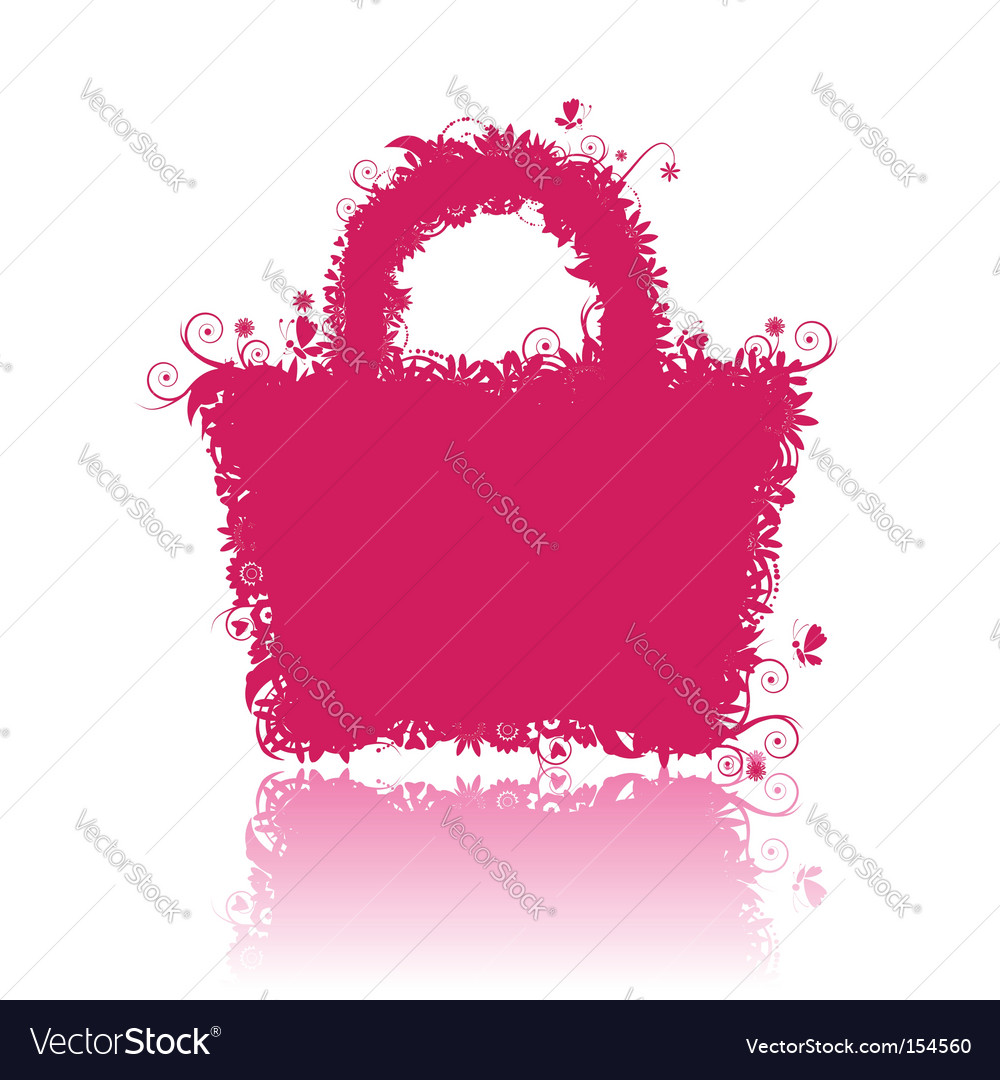 Floral shopping bag silhouette vector | Price: 1 Credit (USD $1)