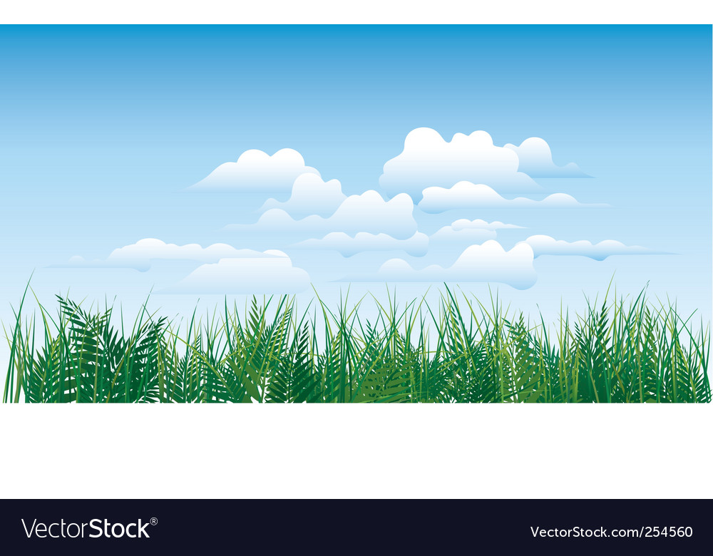 Grass on sky background vector | Price: 1 Credit (USD $1)