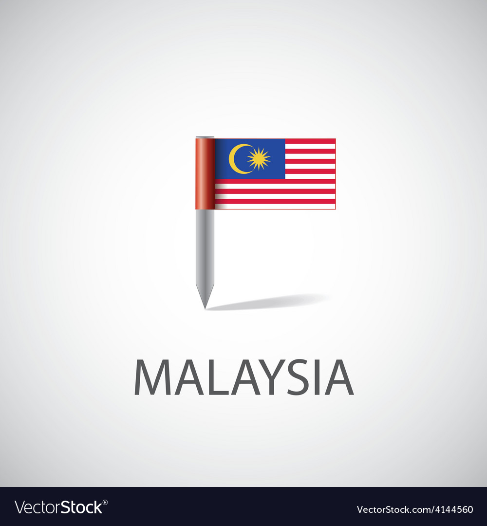 Malaysia flag pin vector | Price: 1 Credit (USD $1)