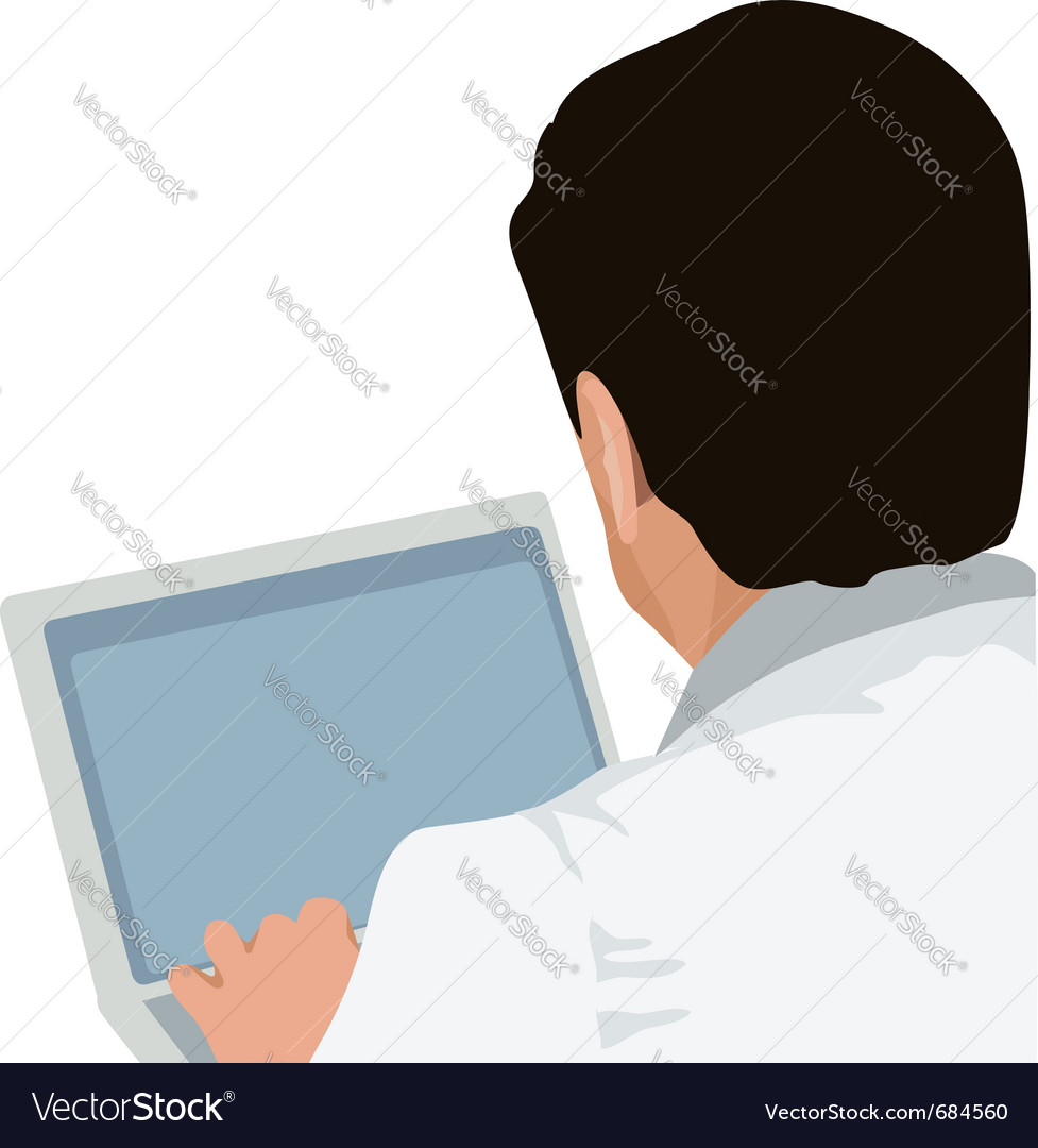Man and laptop vector | Price: 1 Credit (USD $1)