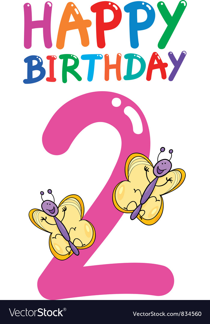 Second birthday anniversary card vector | Price: 3 Credit (USD $3)