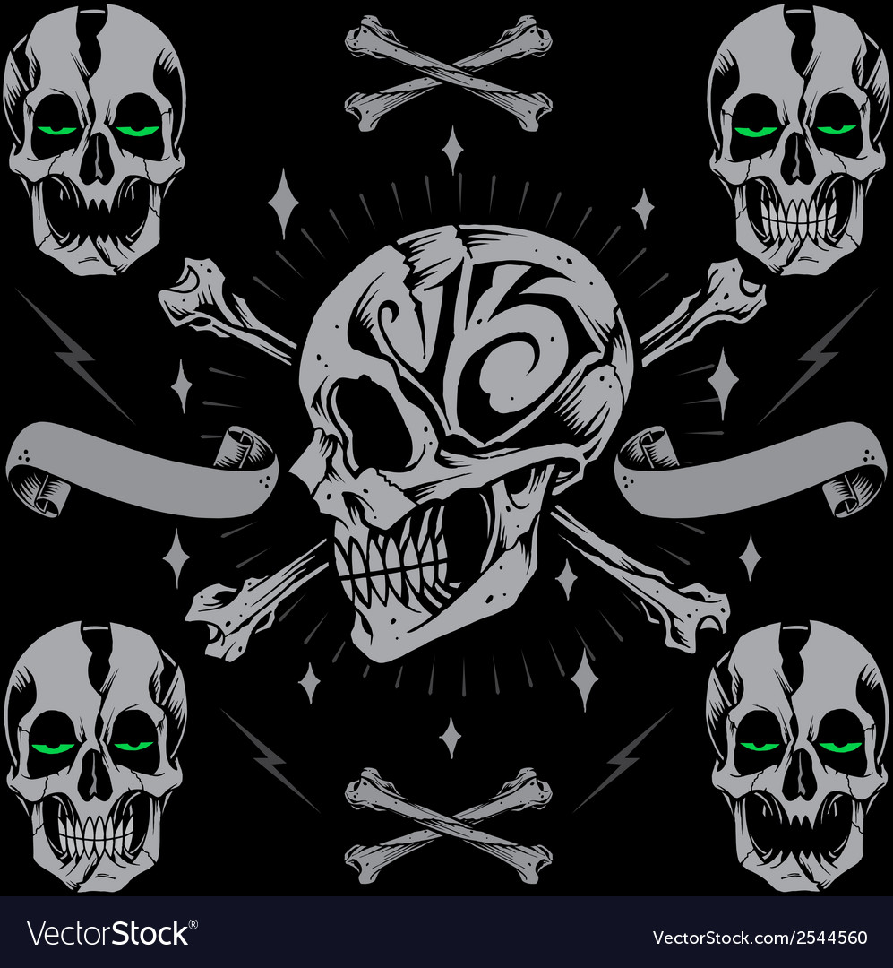 Skulls bone cross and ribbon vector | Price: 1 Credit (USD $1)
