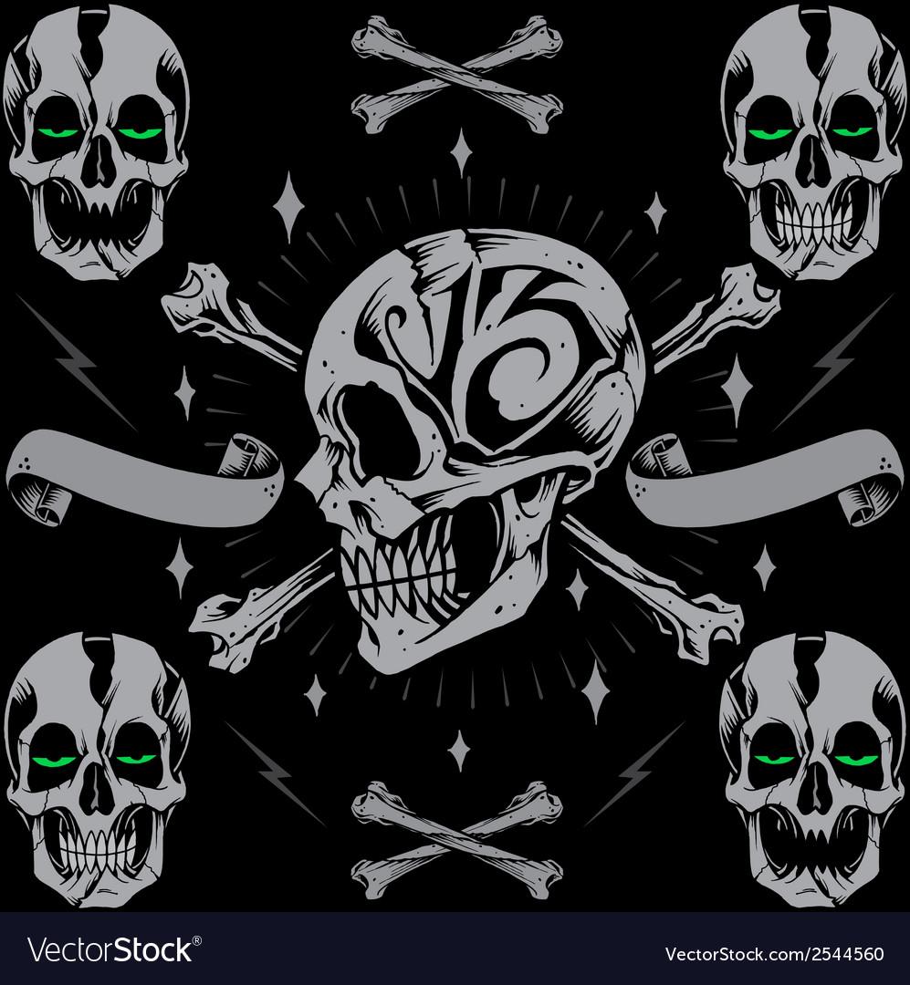 Skulls bone cross and ribbon vector | Price: 1 Credit (USD $1)