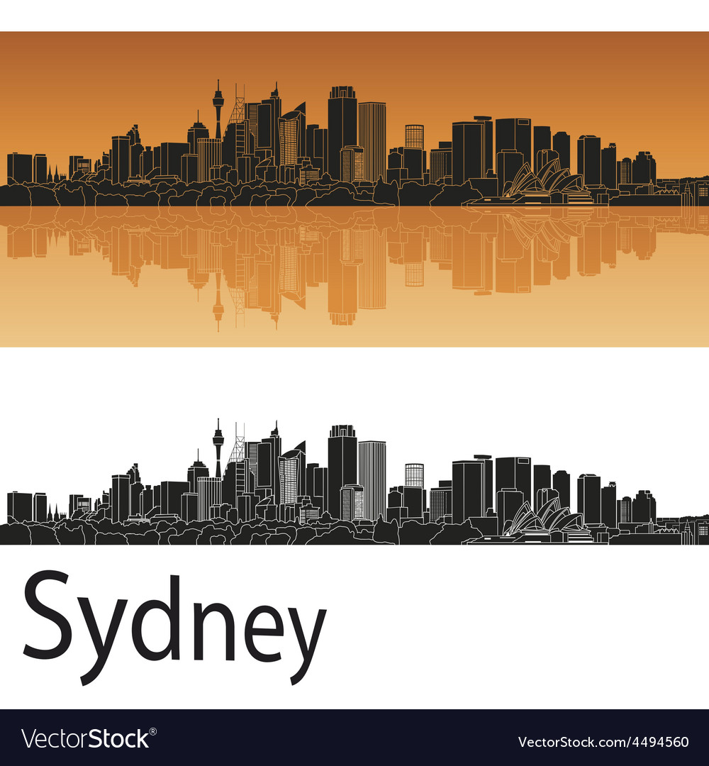 Sydney v2 skyline in orange background in editable vector | Price: 1 Credit (USD $1)