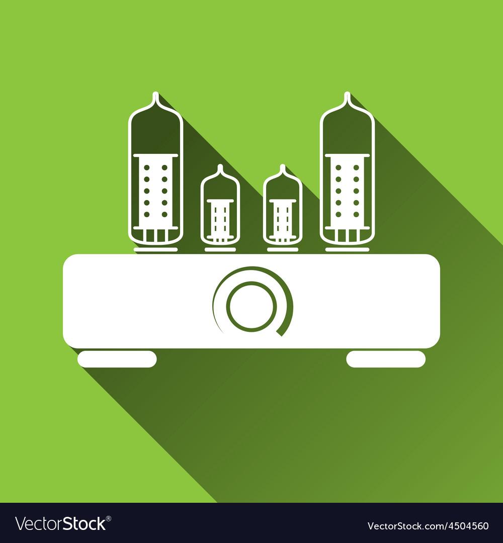 Tube amplifier icon long shadows vector | Price: 1 Credit (USD $1)