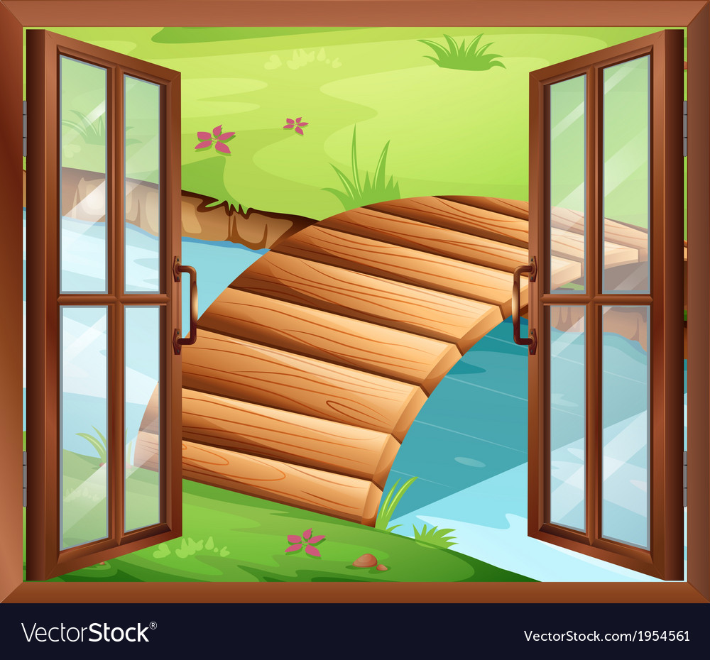 A window overlooking the river with a bridge vector   Price: 1 Credit (USD $1)