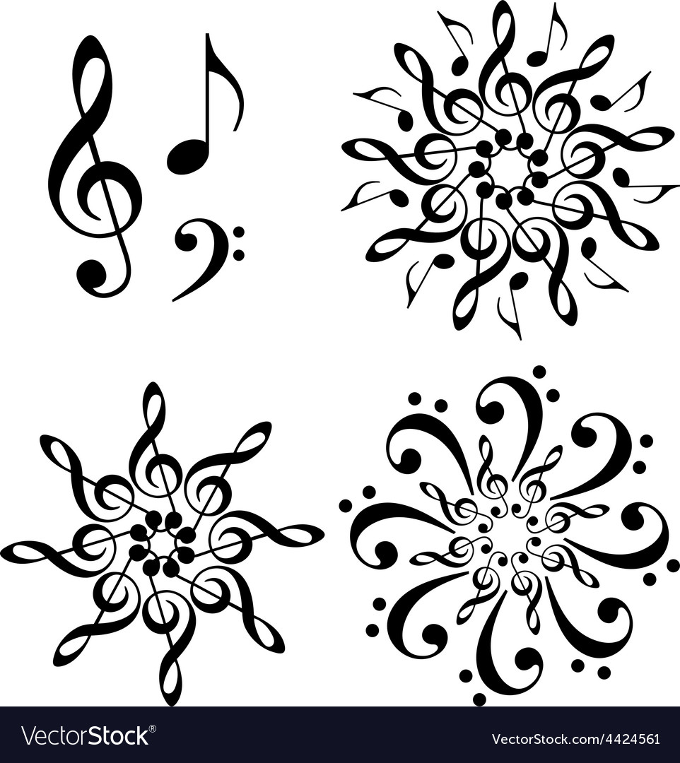 Abstract music flowers set vector | Price: 1 Credit (USD $1)