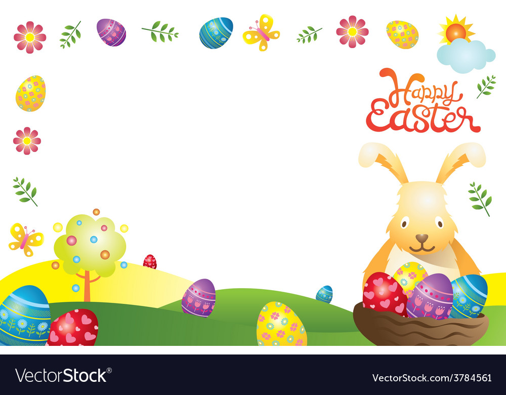 Easter with bunny and eggs frame vector | Price: 3 Credit (USD $3)