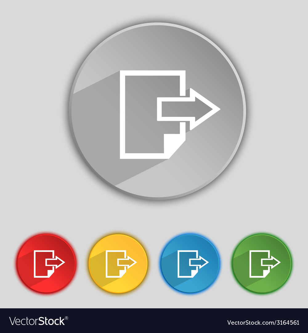 Export file icon file document symbol set of vector | Price: 1 Credit (USD $1)