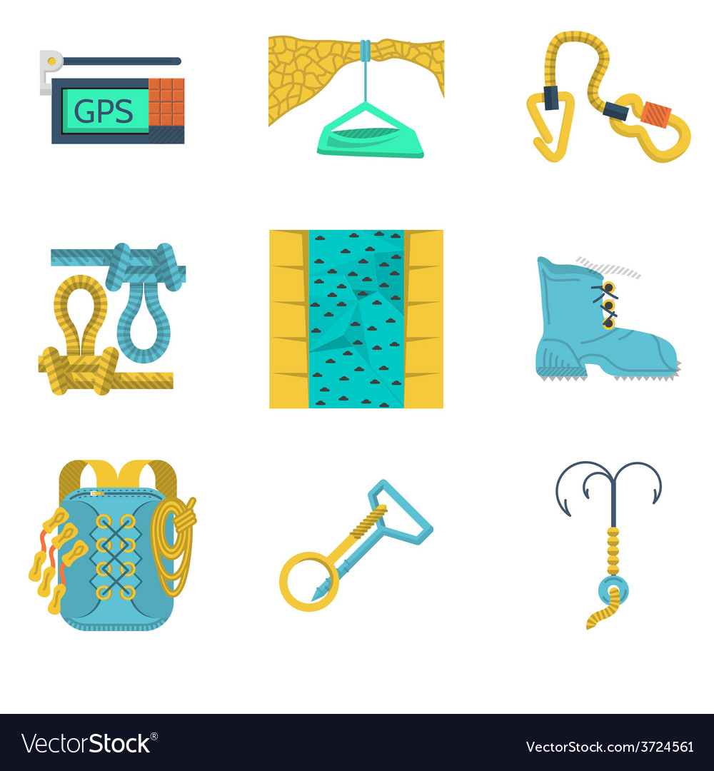Flat icons collection of mountaineering vector | Price: 1 Credit (USD $1)