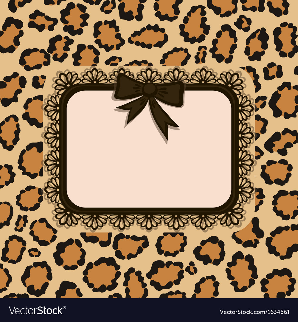 Invitation card with leopard fur texture vector | Price: 1 Credit (USD $1)