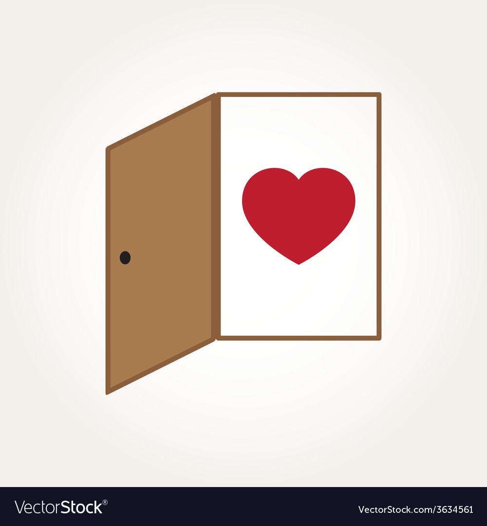 Love heart door open mind concept vector | Price: 1 Credit (USD $1)