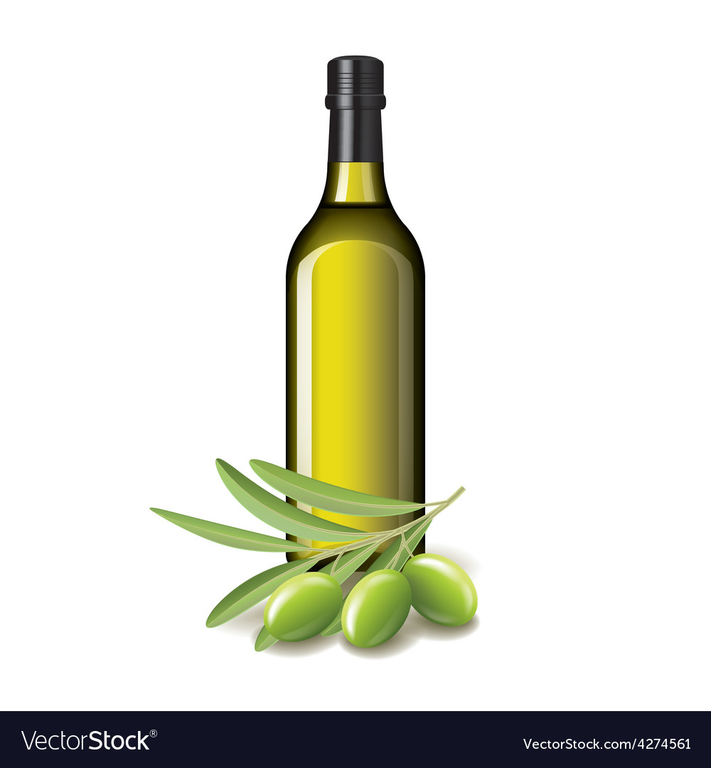 Olive oil bottle and olives isolated vector | Price: 3 Credit (USD $3)