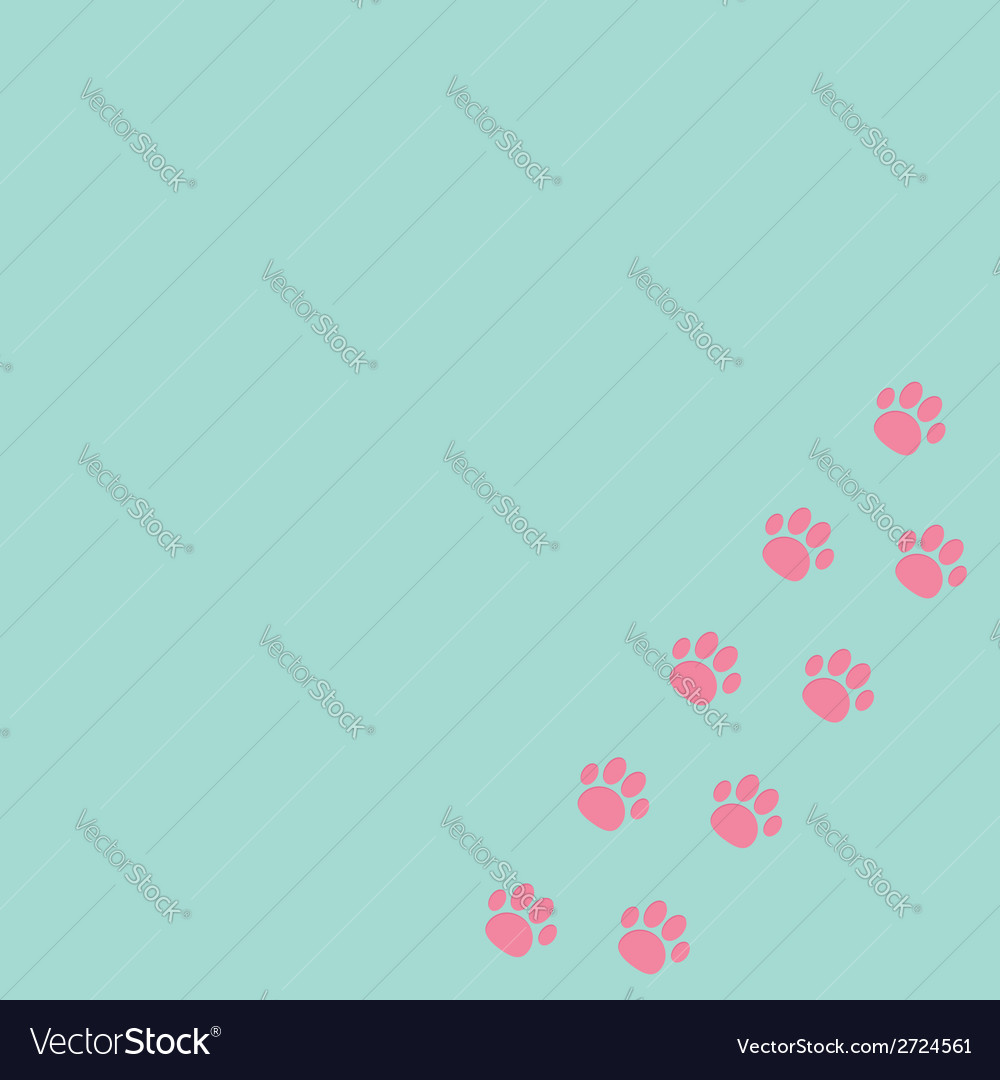 Paw print track in the corner blue and pink vector | Price: 1 Credit (USD $1)