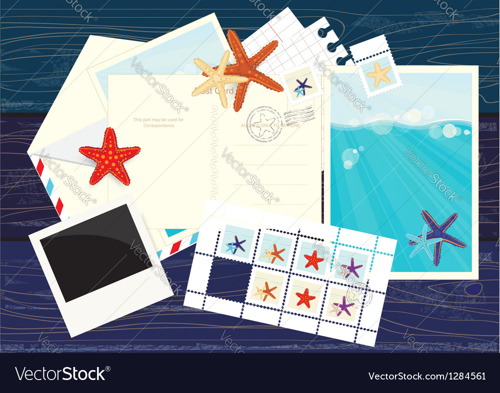 Photos postcards mails and starfish stickers vector | Price: 1 Credit (USD $1)