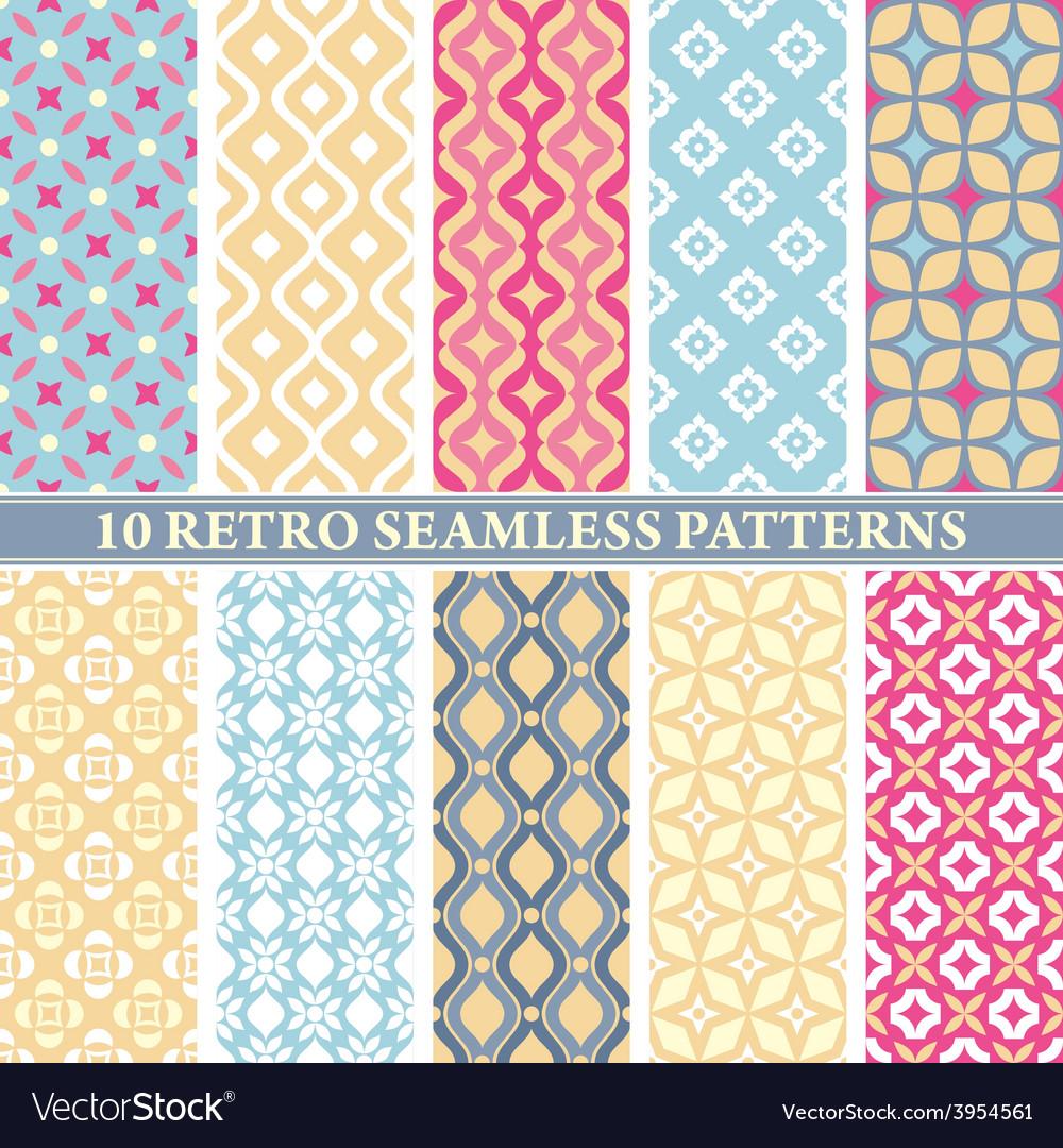 Set of 10 retro seamless patterns vector | Price: 1 Credit (USD $1)