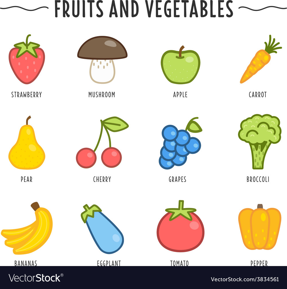 Set of fruits and vegetables isolated on white vector | Price: 1 Credit (USD $1)