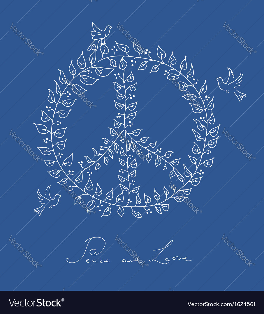 Sketch style peace dove symbol blue background vector | Price: 1 Credit (USD $1)