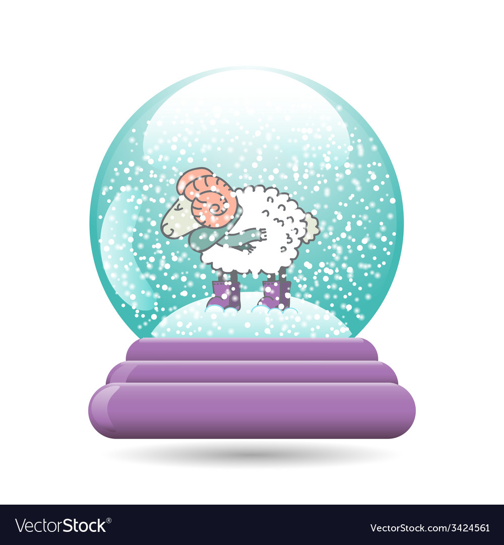Snow globe with a christmas sheep vector | Price: 1 Credit (USD $1)