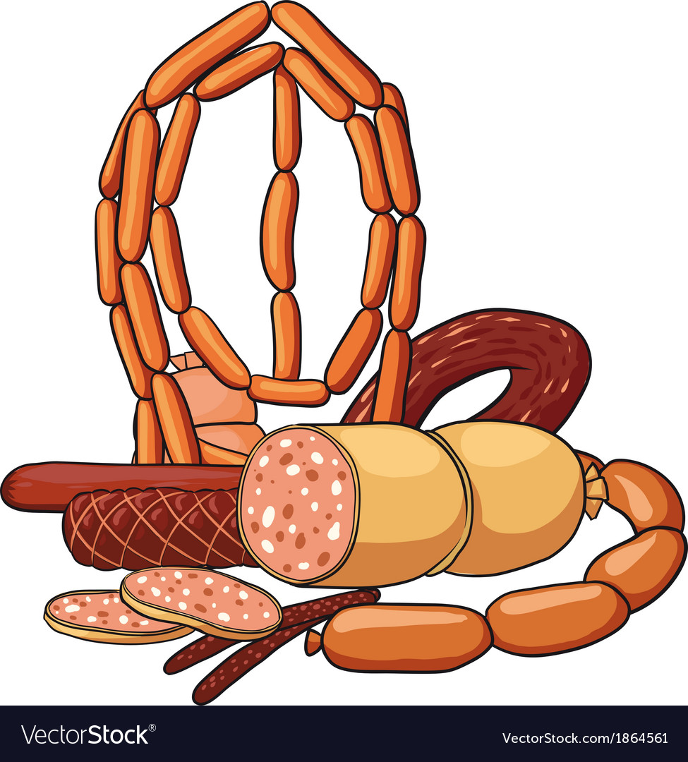 Still life with sausage products vector | Price: 1 Credit (USD $1)