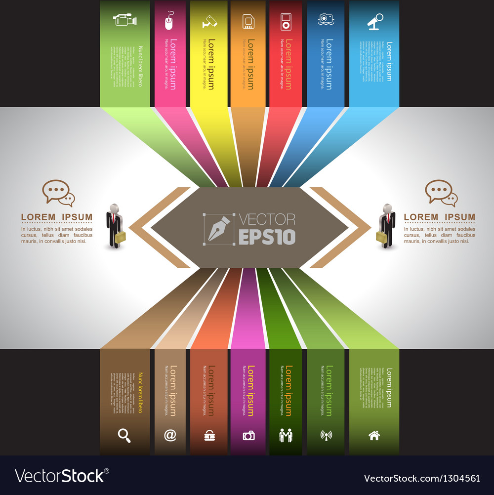 Tab vertical with business man icons vector | Price: 1 Credit (USD $1)