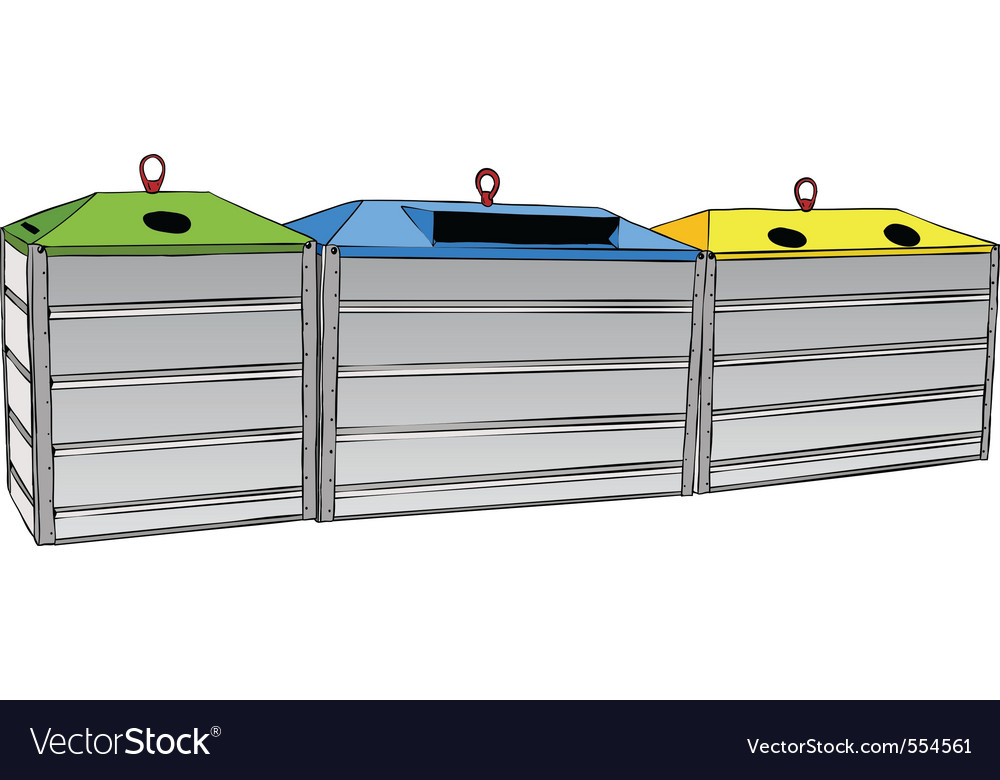 Three recycle containers on the white vector | Price: 1 Credit (USD $1)