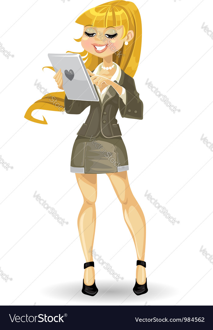 Blond girl with tablet computer vector | Price: 3 Credit (USD $3)