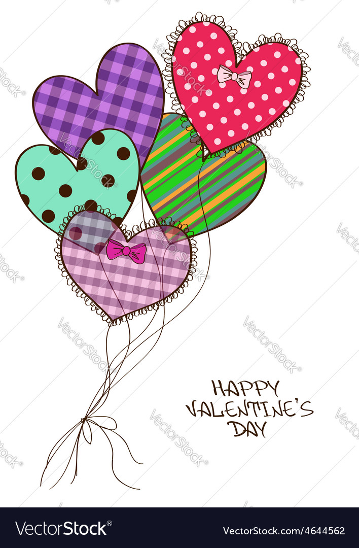 Card with scrap booking heart air balloons vector | Price: 1 Credit (USD $1)