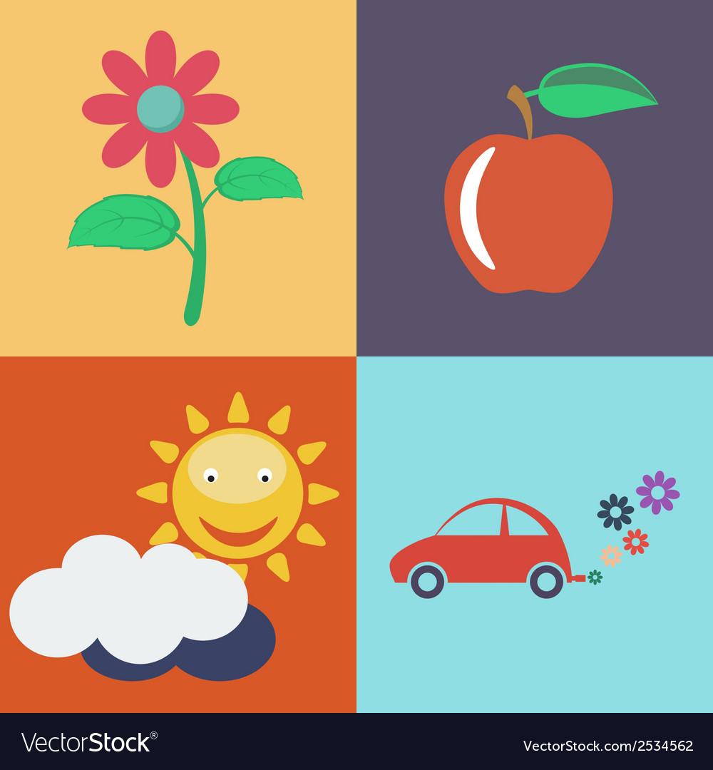 Flat eco concept eco icons vector | Price: 1 Credit (USD $1)