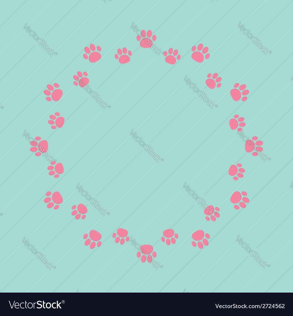 Paw print round abstract frame empty template vector | Price: 1 Credit (USD $1)