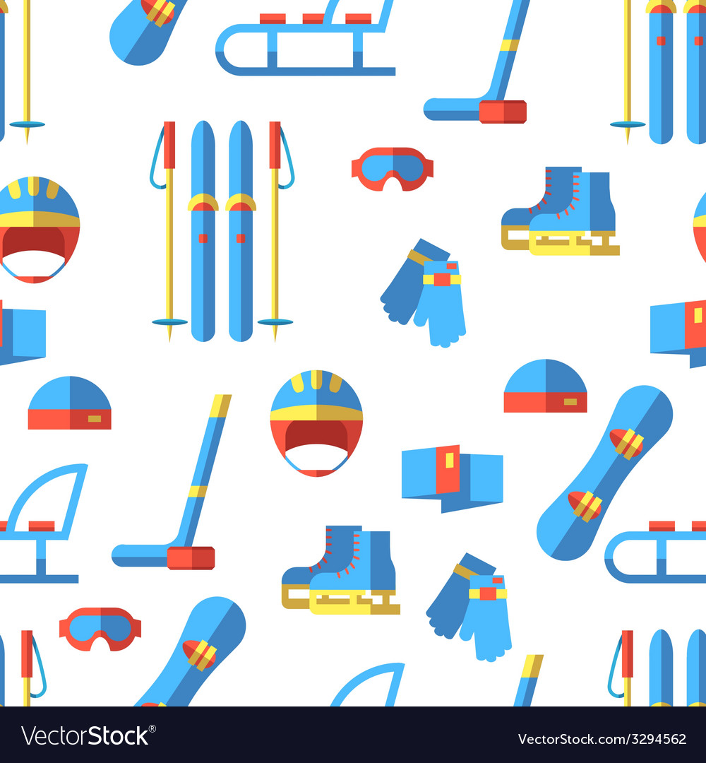 Seamless pattern with winter sport elements flat vector | Price: 1 Credit (USD $1)