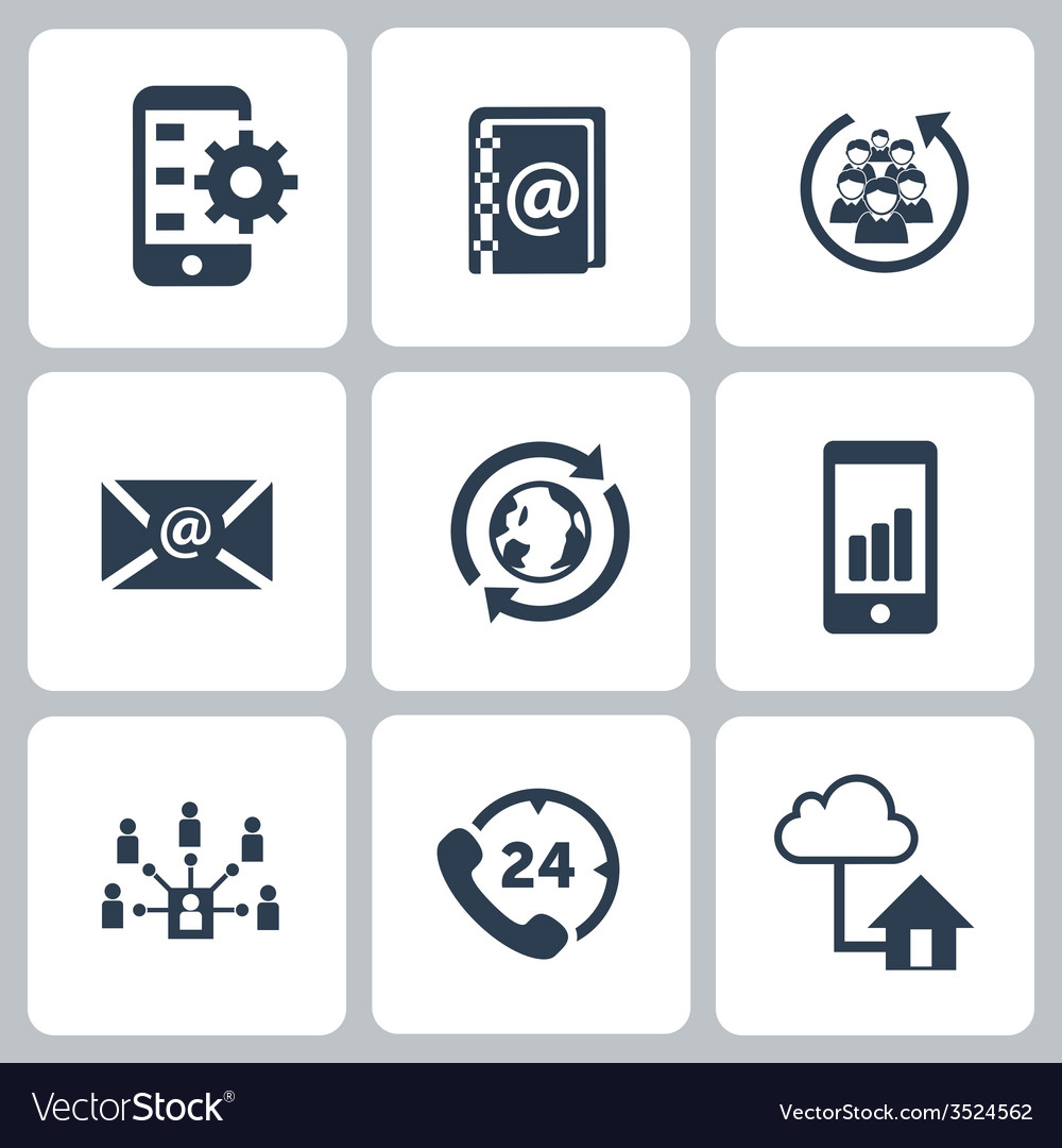 Set of communication contact us icons vector | Price: 1 Credit (USD $1)