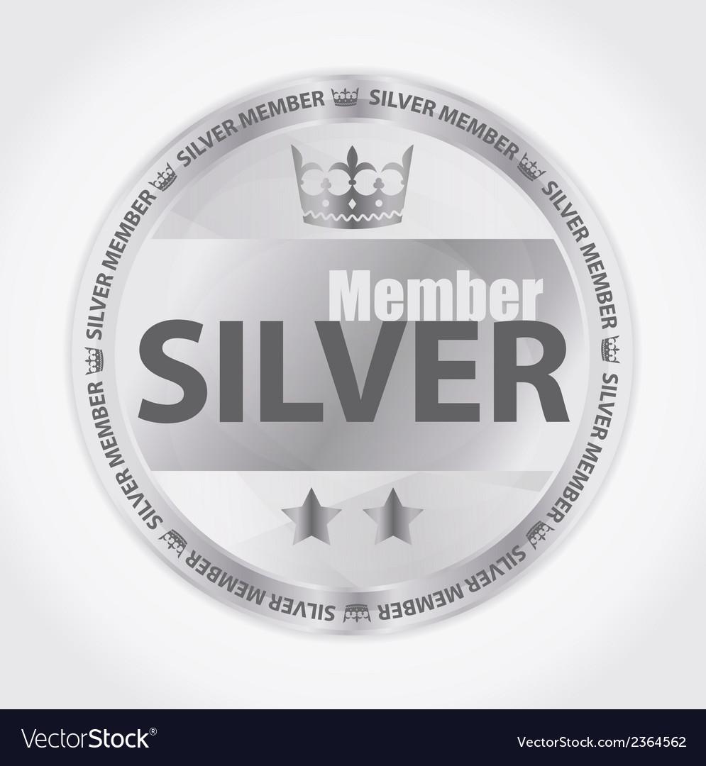 Silver member badge with royal crown and two stars vector | Price: 1 Credit (USD $1)