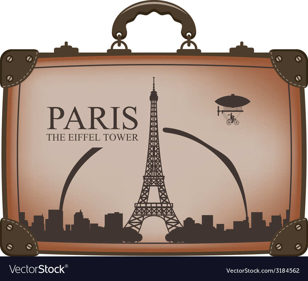 Suitcase paris vector | Price: 1 Credit (USD $1)