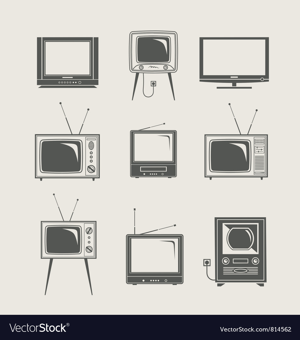 Tv set icon vector | Price: 1 Credit (USD $1)