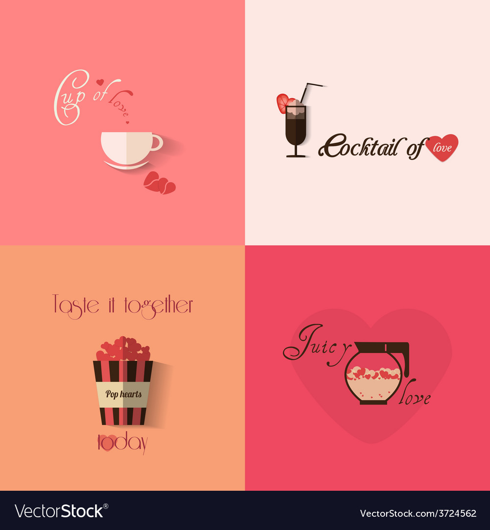 Valentines day greeting card design with set of vector | Price: 1 Credit (USD $1)