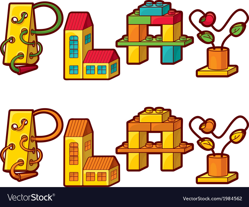 Word play letters made of toys vector | Price: 1 Credit (USD $1)