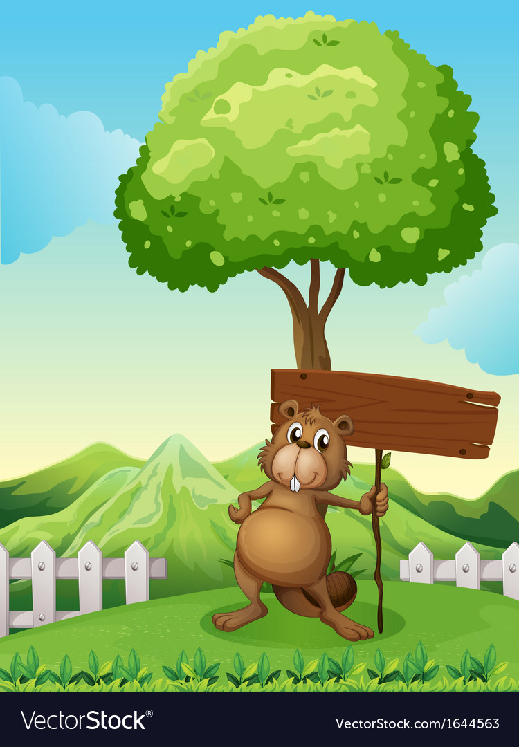 A beaver under the tree with an empty wooden board vector | Price: 3 Credit (USD $3)