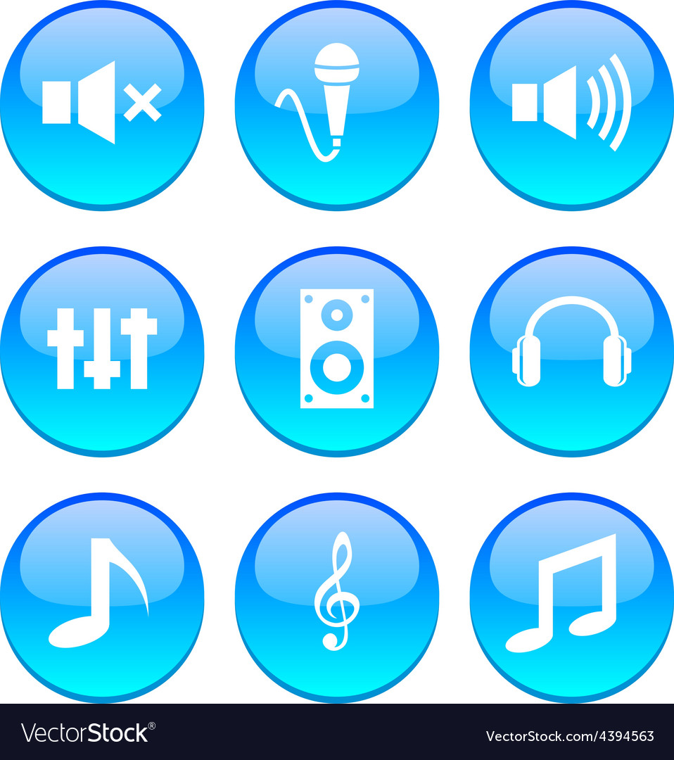 Audio icons vector | Price: 1 Credit (USD $1)