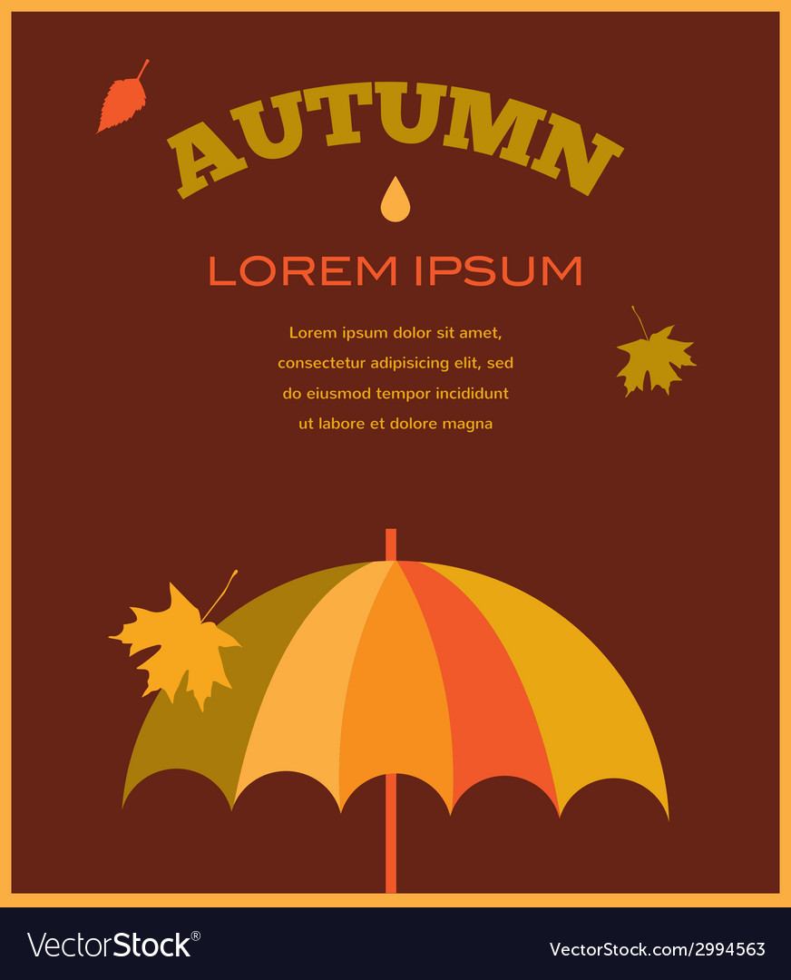 Autumn time umbrela with falling leafs vector | Price: 1 Credit (USD $1)